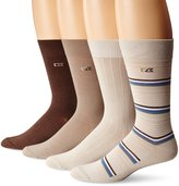 Cutter & Buck Men's 4 Pack Light Stripe Crew Socks