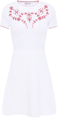 RED Valentino Broderie Anglaise-trimmed Stretch-knit Mini Dress