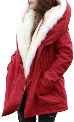 TOPKEAL Coat Women Winter Thick Fleece Faux Fur Large Collar V-Neck Jacket Ladies Long Sleeve Warm Parka Hooded Trench Overcoat Outwear (Red XX-Large)