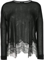 Giambattista Valli sheer scalloped lace hem sweater