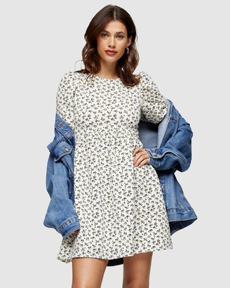 Topshop Ditsy Babydoll Puff Sleeve Dress