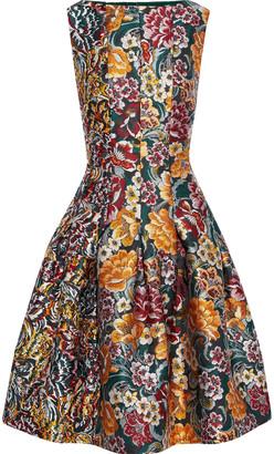 Oscar de la Renta Pleated Fil Coupe-paneled Floral-brocade Dress