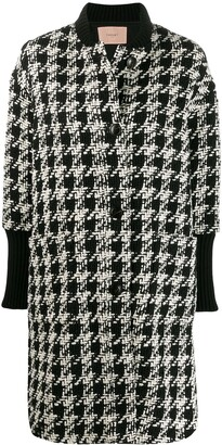 Twin-Set houndstooth single breasted coat