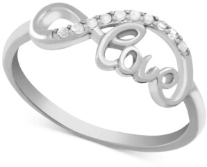 Macy's Diamond (1/10 ct. t.w.) Infinity Love Ring in Sterling Silver