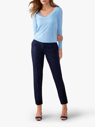 Pure Collection Linen Slim Leg Cropped Trousers, Navy