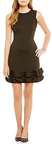 Donna Ricco Ruffle Hem Little Black Dress