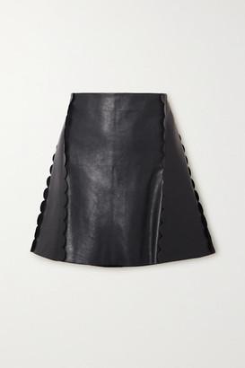 Chloé Scalloped Leather Mini Skirt - Navy
