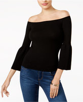 GUESS Ines Off-The-Shoulder Bell-Sleeve Sweater