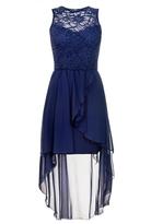 Quiz Navy Lace Dip Hem Dress