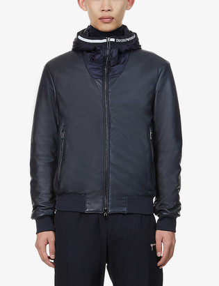 Emporio Armani Brand-detail shell and leather jacket