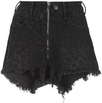 Marcelo Burlon County of Milan Tiger Pattern Frayed Shorts