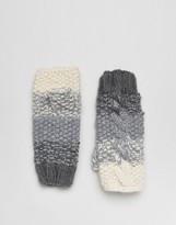 Eugenia Kim Genie by Carlie Cream and Gray Ombre Fingerless Cable Knit Gloves