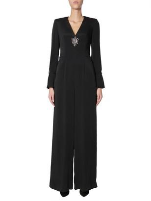 Alberta Ferretti V-Neck Embellished Jumpsuit