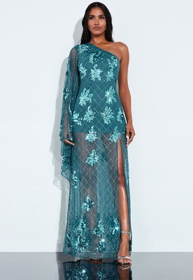 Missguided Blue Sequin Embellished One Sleeve Maxi Dress