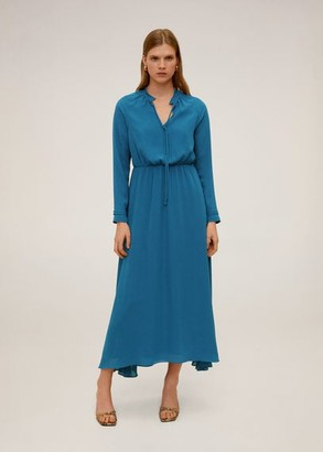 MANGO Flowy long dress petrol blue - 4 - Women