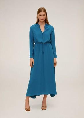 MANGO Flowy long dress petrol blue - 6 - Women