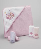 SpaSilk Pink Snail Hooded Towel Set