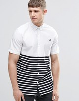 Fred Perry Shirt In Slim Fit With Half Stripe Short Sleeves
