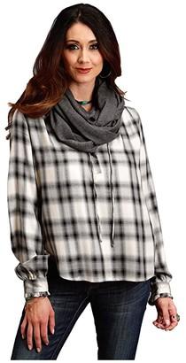 Stetson 0586 Ash Plaid Herringbone Twill (White) Women's Clothing