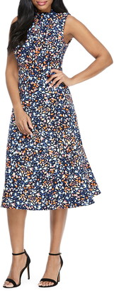 Maggy London Print Tie Neck Fit & Flare Dress
