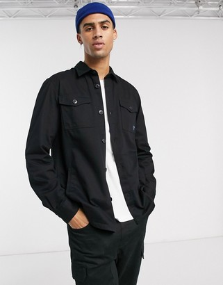 Barbour Beacon twill overshirt in black