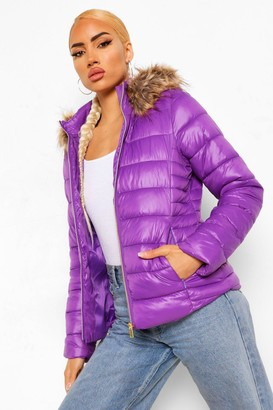 boohoo Faux Fur Trim High Shine Puffer Jacket
