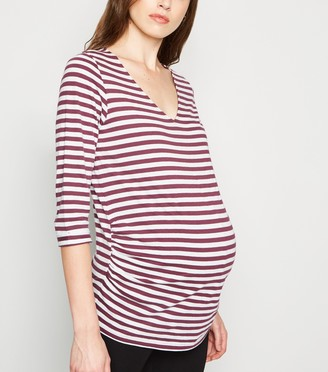 New Look Maternity Stripe 1/2 Sleeve T-Shirt