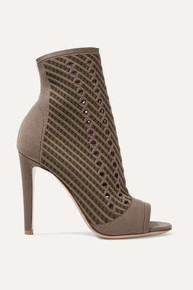 Gianvito Rossi 105 Perforated Stretch-knit Ankle Boots - Mushroom