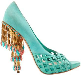 Christian Dior Blue Suede Heels