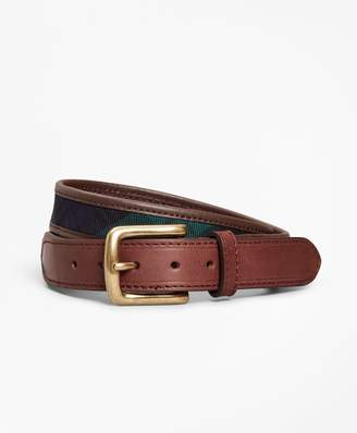 Brooks Brothers Boys Leather and Canvas Black Watch Belt