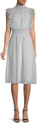 Alexia Admor Polka Dot Mockneck A-Line Dress