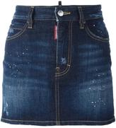 DSQUARED2 paint splatter denim skirt - women - Cotton/Spandex/Elastane - 40