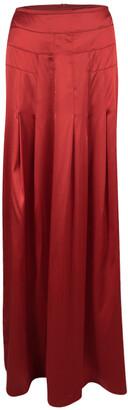 Boss by Hugo Boss Red Silk Satin Varana Maxi Skirt M
