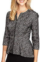 Alex Evenings 3/4 Sleeve Lace Zip-Front Jacket