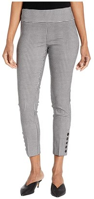 Elliott Lauren Stretch Gingham Pull-On Crop Pants with Button Details (Black/White) Women's Clothing
