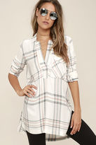 Lush Chic Thrills Ivory Plaid Tunic Top