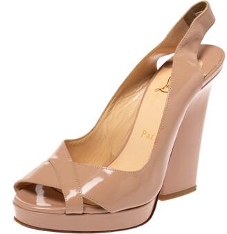 Christian Louboutin Beige Patent Leather Marpoil Peep Toe Platform Slingback Sandals Size 36.5