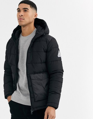 Jack and Jones Originals hooded puffer jacket with patch pockets in black