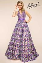 Mac Duggal Ballgowns - 66055 V Neck Gown In Purple/Multicolor