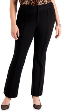 INC International Concepts Inc Plus Size Ponte-Knit Flare-Leg Trousers, Created for Macy's