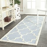 Safavieh Cambridge Collection CAM134A Handmade and Ivory Wool Runner, 2 feet 6 inches by 8 feet