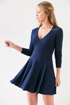 Kimchi & Blue Kimchi Blue Cozy Plunging Fit + Flare Mini Dress