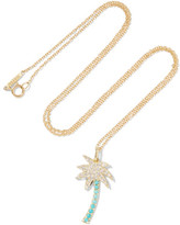 Jennifer Meyer Large Palm Tree 18-karat Gold, Diamond And Turquoise Necklace