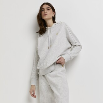 River Island Womens Grey marl long sleeve exposed seam hoody