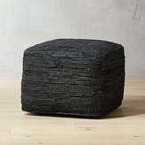 CB2 Black Recycled Pouf