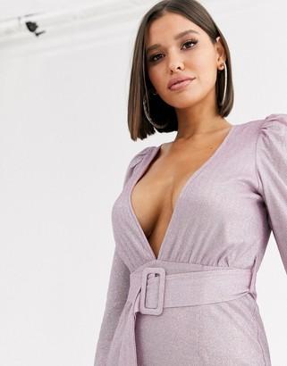 Saint Genies metallic puff sleeve dress with fabric buckle waist belt in lilac-Purple