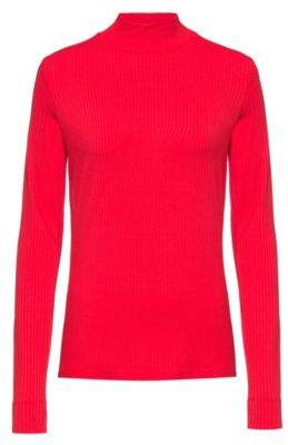 HUGO Slim-fit long-sleeved ribbed T-shirt with turtleneck