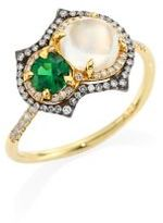 Ivy Diamond, Green Tsavorite & White Moonstone Ring