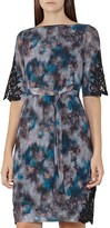 Reiss Ardant Lace-Inset Printed Dress