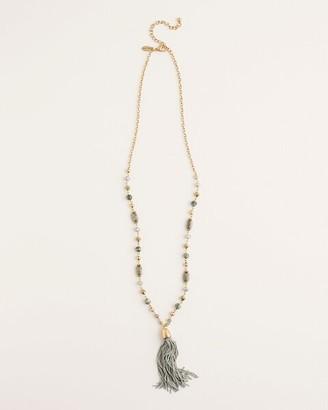 Chico's Green Pendant Tassel Necklace